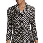 Black Label by Evan-Picone 3/4-Sleeve Geo-Print Jacket