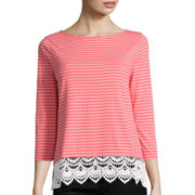 St. John's Bay® Lace Trim Striped Knit Shirt - Tall