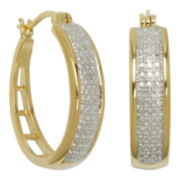 Classic Treasures™ Two-Tone Diamond-Accent Hoop Earrings