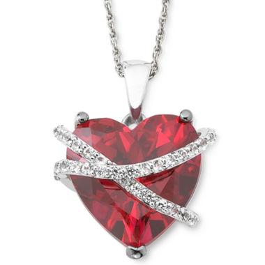 jcpenney.com | Lab-Created Ruby & White Sapphire Crossover Heart Pendant Necklace in Sterling Silver