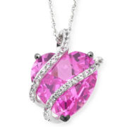 Lab-Created Pink & White Sapphire Heart Pendant Sterling Silver
