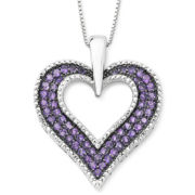 Lab-Created Amethyst & Diamond Accent Heart Pendant Sterling Silver Necklace