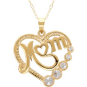 "Heart ""Mom"" Pendant Necklace 10K Gold"