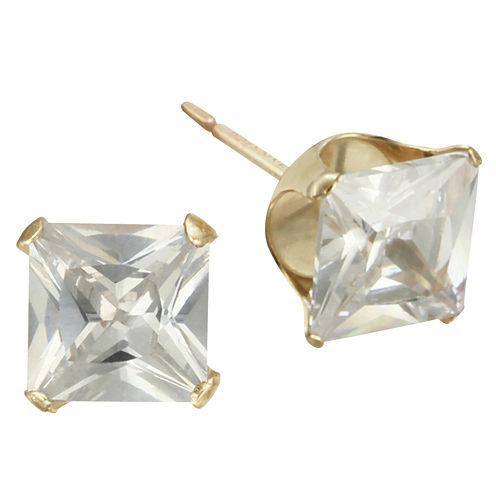 6mm Princess-Cut Cubic Zirconia Stud Earrings 10K Gold