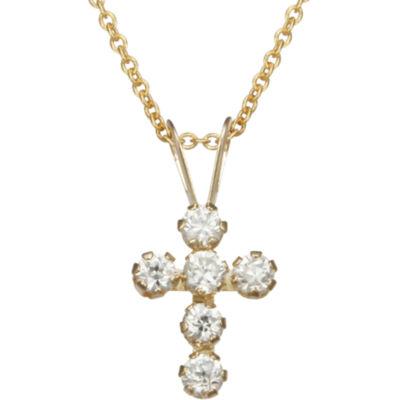 bd9c7e23328522 10K Gold Cubic Zirconia Cross Pendant Necklace