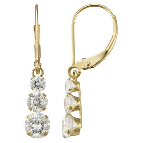 14K Yellow Gold Triple Cubic Zirconia Drop Earrings