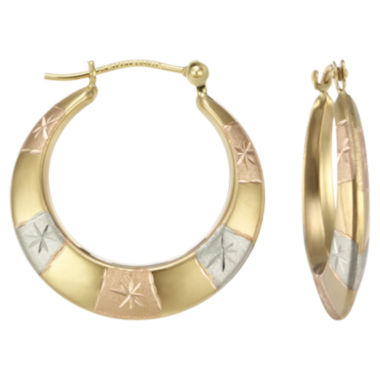 jcpenney.com | Tri-Tone 14K Gold Patterned Hoop Earrings