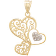 14K Gold 3-Hearts Filigree Pendant