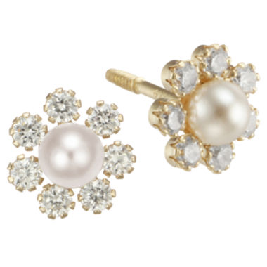 jcpenney.com | Girls Pearl & Cubic Zirconia Flower Stud Earrings