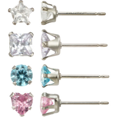 jcpenney.com | Girls Sterling Silver Cubic Zirconia 4-pr. Earring Set