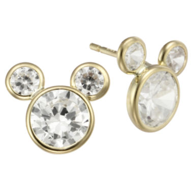 jcpenney.com | Girls Mickey Mouse 10K Gold Cubic Zirconia Stud Earrings