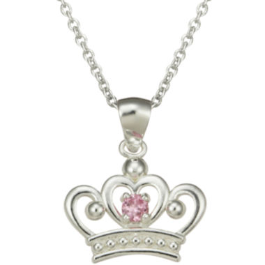 jcpenney.com | Girls Pink Cubic Zirconia Princess Crown Pendant Necklace