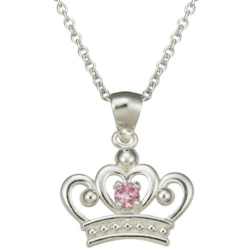 Girls Pink Cubic Zirconia Princess Crown Pendant Necklace