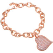 14K Rose Gold Over Brass Heart Charm Bracelet