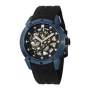 Stührling® Original Mens Blue Bezel Black Silicone Strap Skeleton Automatic Watch