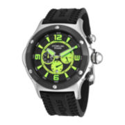Stührling® Original Mens Silicone Strap Green Accent Chronograph Watch
