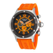 Stührling® Original Mens Orange Silicone Strap Chronograph Watch