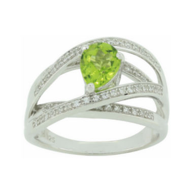 jcpenney.com | Genuine Peridot & Lab-Created White Sapphire Crisscross Ring
