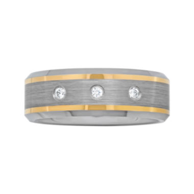 jcpenney.com |  Men's 1/10 CT. T.W. Diamond Two-Tone Wedding Band