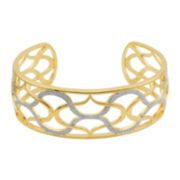 Two-Tone Diamond-Accent Teardrop Cuff Bracelet