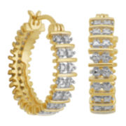 Diamond-Accent Multi-Row Hoop Earrings