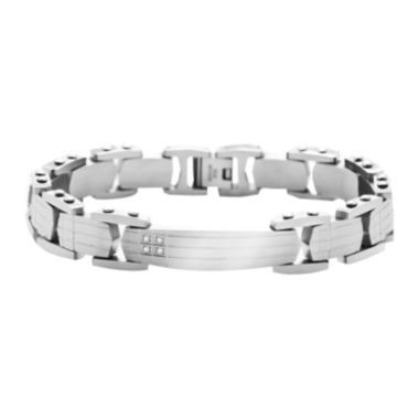 jcpenney.com | Mens Stainless Steel Diamond-Accent ID Bracelet
