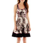 S.H.E Sleeveless Floral Print Fit-and-Flare Dress