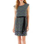 Worthington® Cap-Sleeve Tie-Belt Blouson Dress