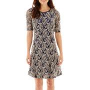 Tiana B. Elbow-Sleeve Keyhole-Back Lace Dress