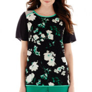 Worthington® Short-Sleeve Colorblock Print Blouse - Tall