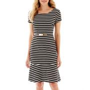 Liz Claiborne® Short-Sleeve Striped Tulip Dress