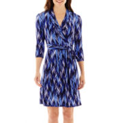Liz Claiborne® 3/4-Sleeve Chevron-Print Wrap Dress