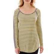 Liz Claiborne® Striped Scoopneck Tee - Petite