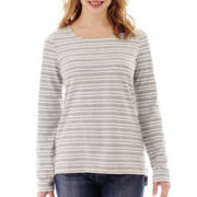 Liz Claiborne® Long-Sleeve Striped Knit Top - Petite