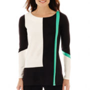 Worthington® Long-Sleeve Colorblock Tunic Top