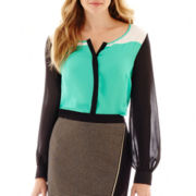 Worthington® Long-Sleeve Colorblock Bouse
