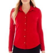 Liz Claiborne® Long-Sleeve Button-Front Knit Shirt