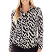 Liz Claiborne® Long-Sleeve Button-Front Knit Shirt