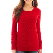 jcp™ Long-Sleeve Diamond Cable Sweater - Petite