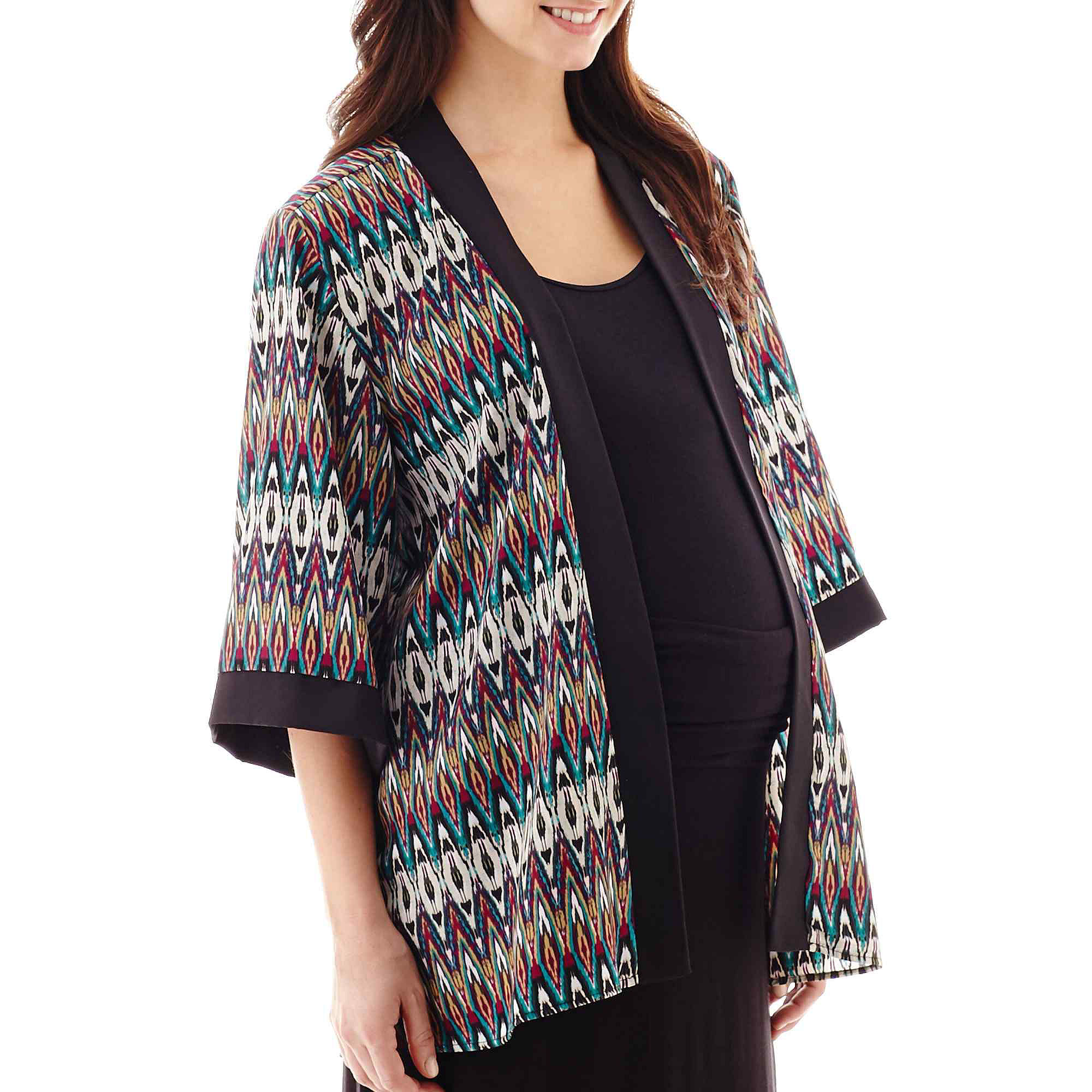 Maternity 3/4-Sleeve Open-Frame Kimono Jacket plus size,  plus size fashion plus size appare