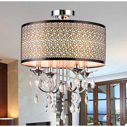 Warehouse Of Tiffany Shane Chrome and Crystal Round Shade Flush-mount 4-light Fixture