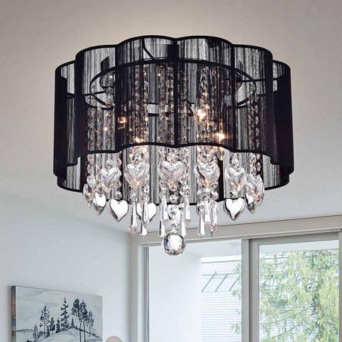 Warehouse Of Tiffany Enyo' Chrome and Crystal Shaded Ceiling Lamp