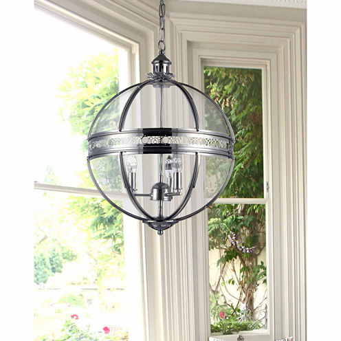 Warehouse Of Tiffany Olsen 3-light Clear Glass 16-inch Round Chrome-finish Chandelier