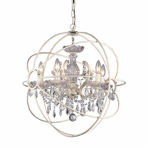 Warehouse Of Tiffany 8-light 16-inch Rosielee White Chandelier