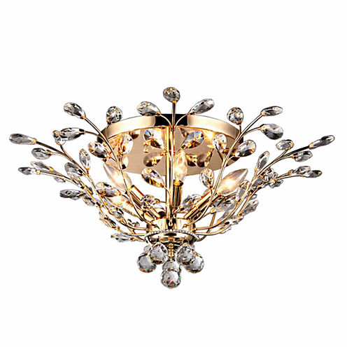 Warehouse Of Tiffany Ava 6-light Gold 27-inch Crystal Flush Mount