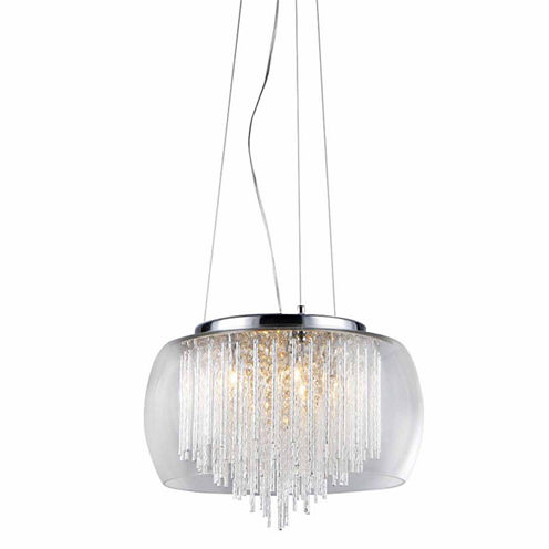 Warehouse Of Tiffany Odysseus' Chrome and Crystal5-light Chandelier