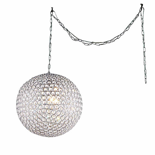 Warehouse Of Tiffany Jessie 3-light Crystal Round12-inch Chrome Swag Lamp