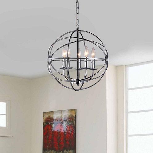 Warehouse Of Tiffany Aidee 5-light Chrome 16-inchSpherical Chandelier