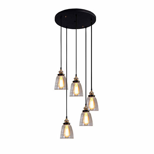 Warehouse Of Tiffany Euna 5-light Adjustable CordEdison Lamp with Bulbs