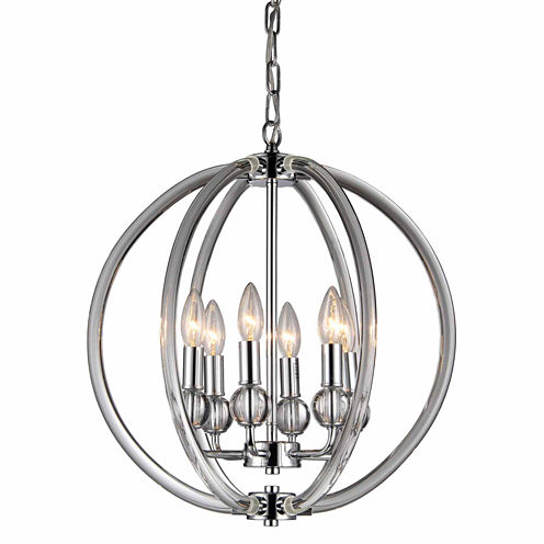 Warehouse Of Tiffany Mallory 6-light Clear 18-inchChrome Chandelier